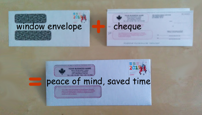 Cheque plus envelope is a peace of mind and time saver