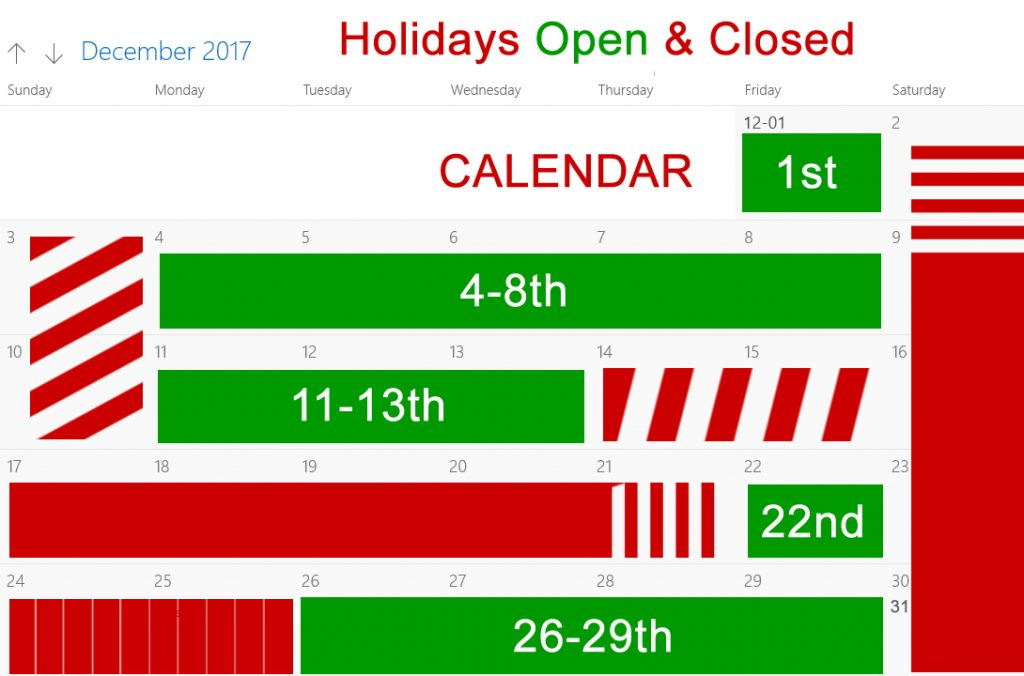 Open and Closed during Holidays 2017